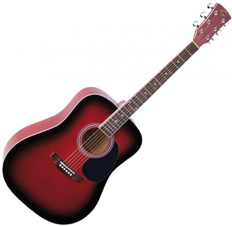 Guitarra acustica Soundsation Yellowstone DN-RDS roja envío gratis