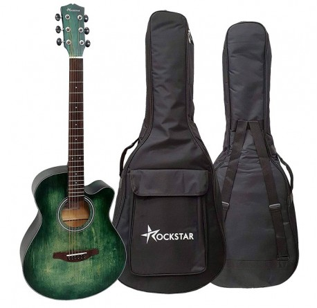 Guitarra acústica Rockstar SA-4000BL con cutaway y funda envío gratis