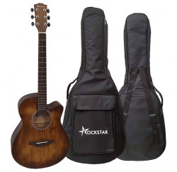 Guitarra acústica Rockstar SA4000BR cutaway y funda envío gratis
