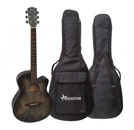 Guitarra acústica Rockstar SA4000BK cutaway y funda envío gratis